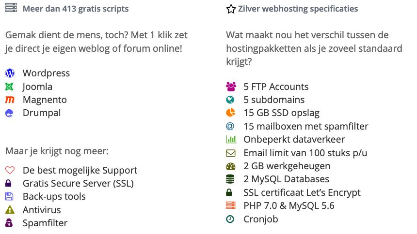 Zilver webhosting